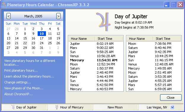 ChronosXP - Free Planetary Hours Software for Windows - Astrology